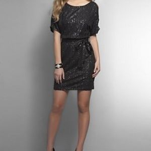 NY&Co. Black Sequin Elastic Waist Belted Dress